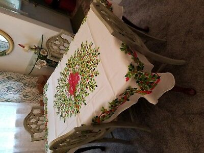 """Vintage Poinsettia & Holly Berries Christmas Tablecloth 50"""" by 68"""" Poly/Cotton"""