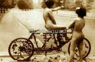 Picture Photo Photo Erotic antique vintage nude Two Girls With Bike 2732