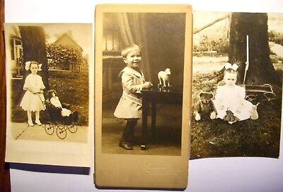 Three Photos of Children With Their Wonderful Toys Early 1900's