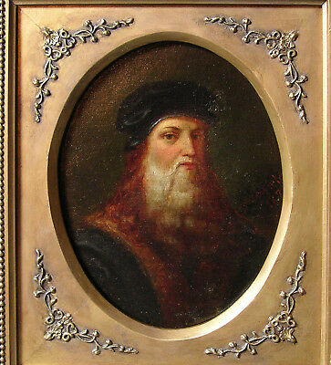 Portrait Leonardo da Vinci by James Maxfield Master Oil on Canvas Painting 1877