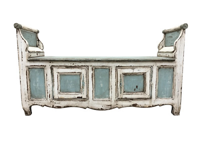 Fabulous 18th C French Painted Hall Bench With Storage
