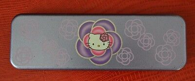 2001 Sanrio Hello Kitty Tin Pencil Case Box Purple Metal Rose Flower
