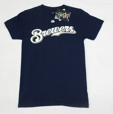 MLB Milwaukee Brewers Youth Boys #8 Ryan Braun Navy T-Shirt Size 10-12
