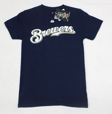 MLB Milwaukee Brewers Youth Boys #8 Ryan Braun Navy T-Shirt Size 14-16