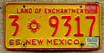 1965 Red on Yellow New Mexico License Plate #3 with a 1968 and a 1970 Sticker