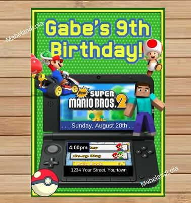 Video Game 3DS Themed Custom Birthday Party INVITATION Digital Invite FILE