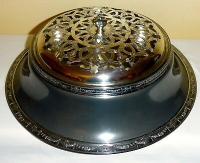 Antique Silver Plated Serving Bowl With Base & Filigreed Lid By Van Bergh S.p.