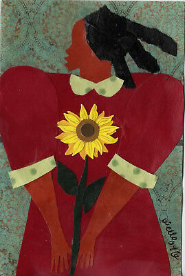DELLA WELLS collage card  american folk art  RED DRESS AND SUNFLOWER outsider