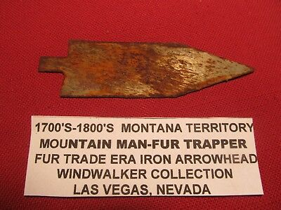 "Historic very old  4"" iron fur trade arrowhead Montana Territory"
