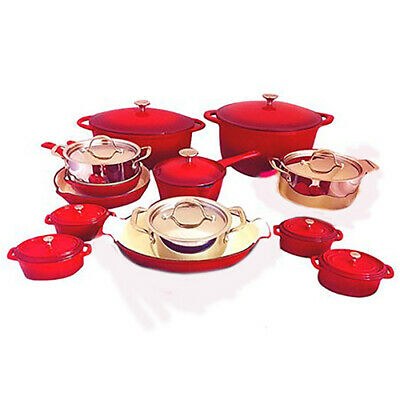 Le Chef 25-Piece Cookware Set, Cherry and Silver.