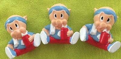 """3 Porky Pig Figures1992 Exercise Work Out by""""Applause"""""""