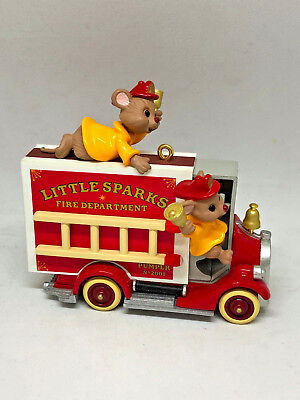 2001 Hallmark Keepsake Ornament Four-Alarm Friends Firetruck & Firefighter Mice