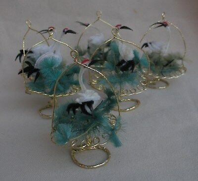 Rare Vintage 1950's Whooping Cranes Birds Chenille Christmas Ornament Lot of 6