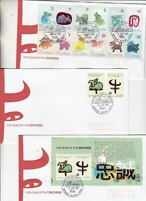 2009 Xmas Isl.Year of the OX set + M/Sheet. 3 first day covers. Going cheap