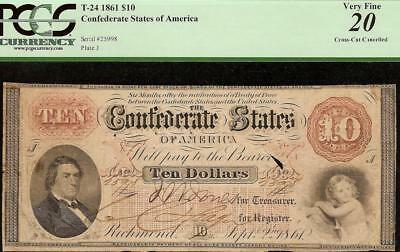 1861 $10 Dollar Confederate States Currency Civil War Note Paper Money T-24 Pcgs