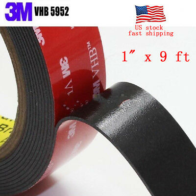 """Genuine 3M VHB #5952 Double-Sided Mounting Tape 1"""" x 9 ft"""
