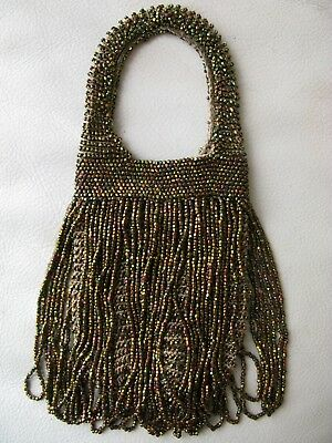 Hearty Antique Gold T Frame Brown Hand Knit Copper Peacock Iridescent Bead Lined Purse Periods & Styles Vintage