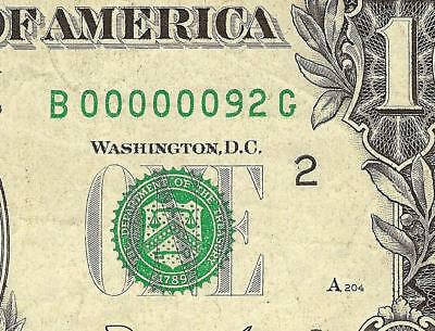 1981 $1 Dollar Bill 2 Digit Note Low Serial Number 92 Paper Money Currency