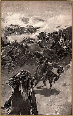 """Blumensebein  Engraving 1897 """" We all Circled Round Him"""" Custer's last Stand"""