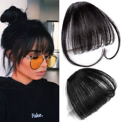 Women Thin Neat Air Bangs Human Hair Extensions Clip In Fringe Front Hair Piece