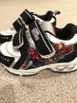 Marvel Heroes Boys Sneakers Spiderman Iron Man Light Up