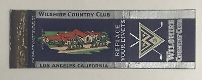 Vintage Wilshire Country Club Los Angeles, California Matchbook Cover