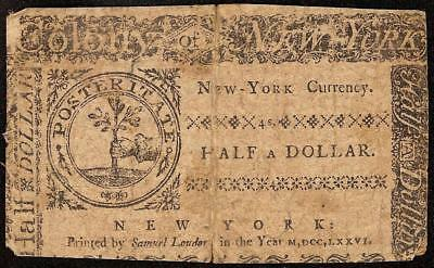 1776 $1/2 Half Dollar New York Colonial Currency Note Old Paper Money Ny-189