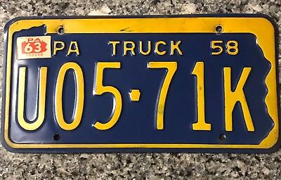 1958 Pennsylvania Truck License Plate # U05-71K Good Condition