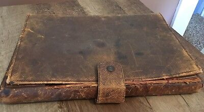 antique victorian civil war leather lap field writing portable desk ink well