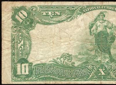 Large 1902 $10 Dollar Bill Columbus Ohio National Bank Note Currency Money 5065