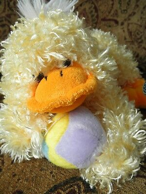 Stuffed Animal EASTER QUACK Large Baby Yellow DUCK TOY CUTE Holding Colored EGG