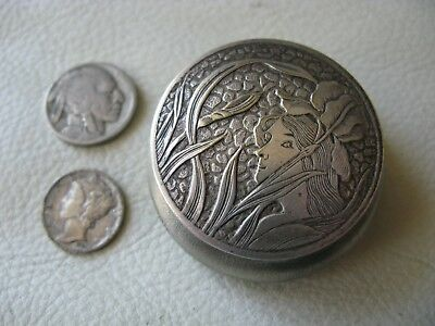 Antique FRENCH Art Nouveau Floral Woman silver T Wool Puff Powder Compact FRANCE