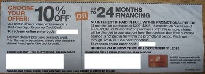 Home Depot coupon 10% or 24 months financing - expires 12/31/2018