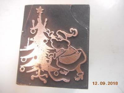 Printing Letterpress Printer Block, Santa Decorating Christmas Tree Printer Cut