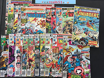 The INVADERS Comic Lot x 22 Issues w/ Hitler | Bronze Age #1~40 | Vintage Comics