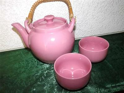 Mauve Teapot w/Lid & Bamboo Handle Plus 2 Cups Made in Japan