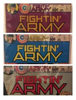 Fightin' Army #156 & #164-65 (Lot of 3) Bronze Age Charlton Comics Reader Copies