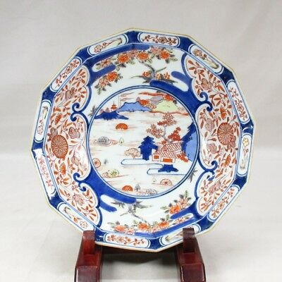 A678 Real old Japanese KO-IMARI colored porcelain polygonal plate of GENROKU age