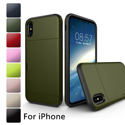 Armor Shockproof Credit Card Holder Case Cover For iPhone XS Max XR 8 7 6s Plus