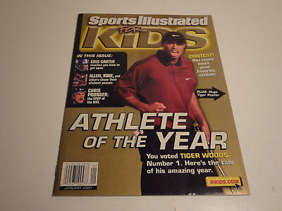 Lot Of Two Tiger Woods Sports Illustrated for Kids Jan 2001 magazine With Cards