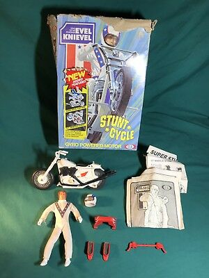 70's Evel Knievel Figure & Stunt Cycle Toy Motorcycle W/ Super Stunt Accessories