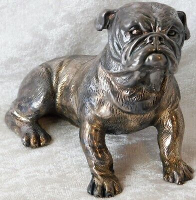 """VTG ENGLISH BULLDOG WEIGHTED Artist Signed STERLING SILVER SCULPTURE FIGURINE 6"""""""