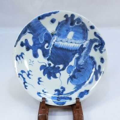 A632: Japanese plate of really old KO-IMARI blue-and-white porcelain with dragon