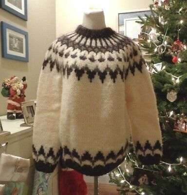 Vintage Karen Isull Of Iceland Ivory Brown Thick Wool Nordic Fair Isle Sweater M