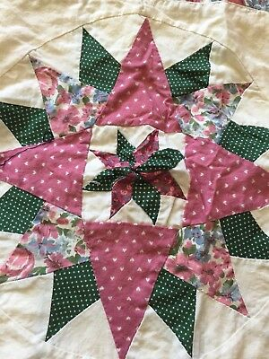 Vintage handmade Quilt Valance 8 Point Star Lined