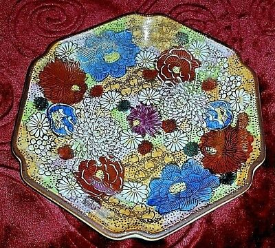 "Antique Kutani 6"" Plate Signed Satsuma Moriage 1000 Flower Japan 1800's w/ Stand"