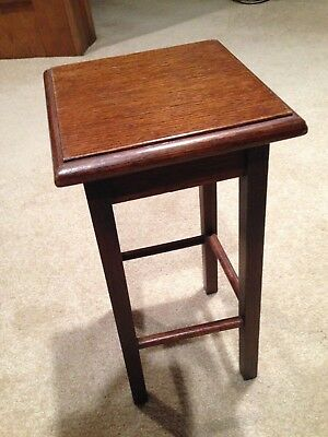 183.  Vintage Wooden Stand, Oak Or Walnut With Walnut Color Stain
