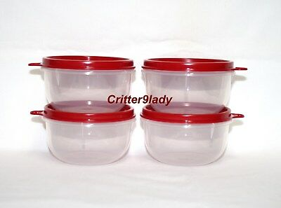 NEW Tupperware Lot of 4 Ideal Little Bowls Red Seals