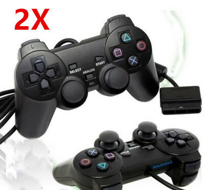 2x Controller Gamepad wired mit Dual Vibration für Sony PS2 Playstation 2