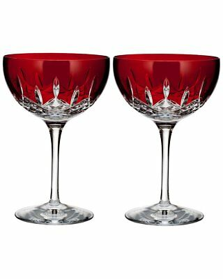 Waterford Crystal Lismore Pops Red Cocktail Pair - NEW in Box